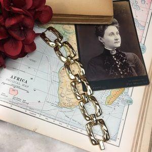 Vintage Jewelry - Vintage Gold Tone Square Link Bracelet